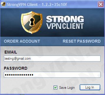 strongvpn to log
