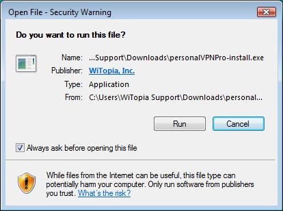 Witopia logiciel
