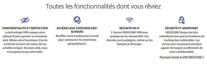 Fonctionnalités F-Secure FREEDOME VPN